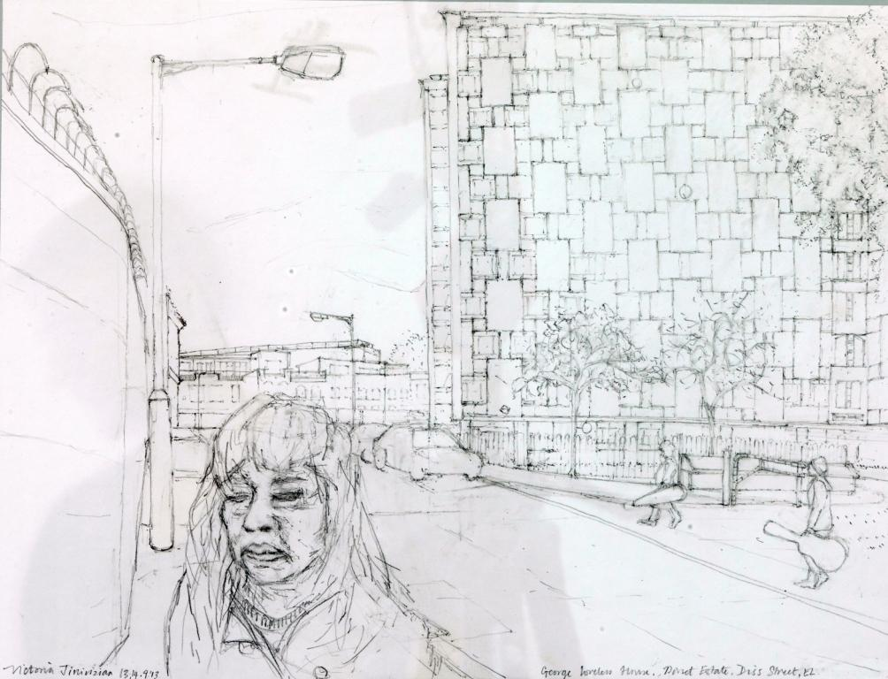 'George Loveless House, Diss Street, E2' 2013, pencil