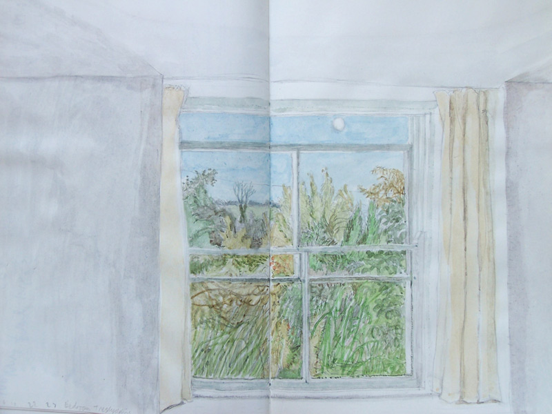 """""""From bedroom, Treglyddins"""" 2010, watercolour"""