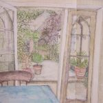 'From Kitchen, The Chapel' 2010, watercolour