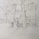 'Towards St.Patrick's Church and Centre Point from Soho Square', 2012, pencil