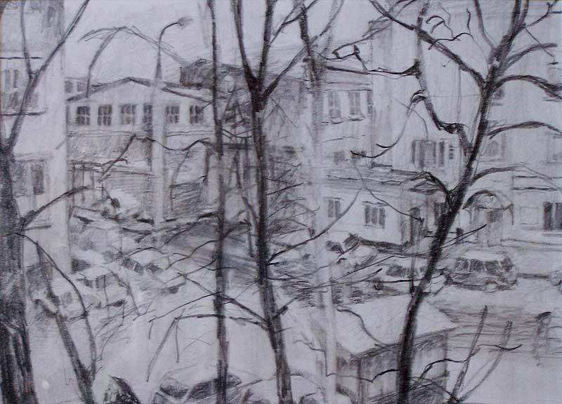 'From Planetnaya Ulitsa, Moscow' 1996, pencil