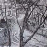 'From Planetnaya Ulitsa at night, Moscow' 1996, pencil