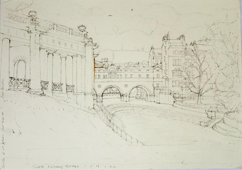 """""""Pulteney Bridge from Jubilee Gardens, Bath' 2009, pencil"""