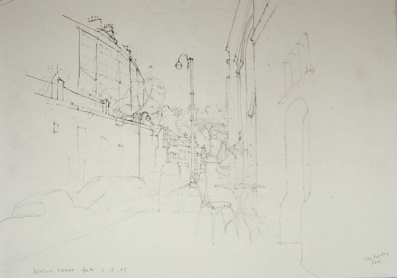 'Walcot Street, Bath' 2009, pencil