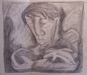 Drawing after Untitled Portrait, 1941, by John Craxton (Pallant House Gallery)