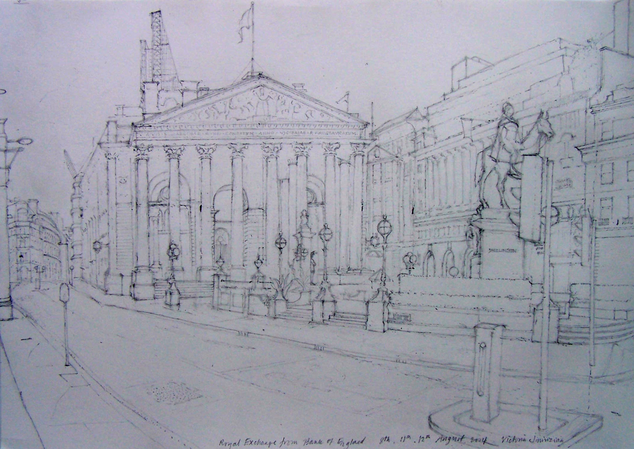 'Royal Exchange from Bank of England', 2014, pencil.