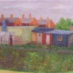 'Sheds above railway, Newbury' 2014, oil on gesso panel