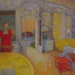 'Interior, Patrick and Joan Leigh Fermor's, Kardamyli' 2014, oil on gesso panel