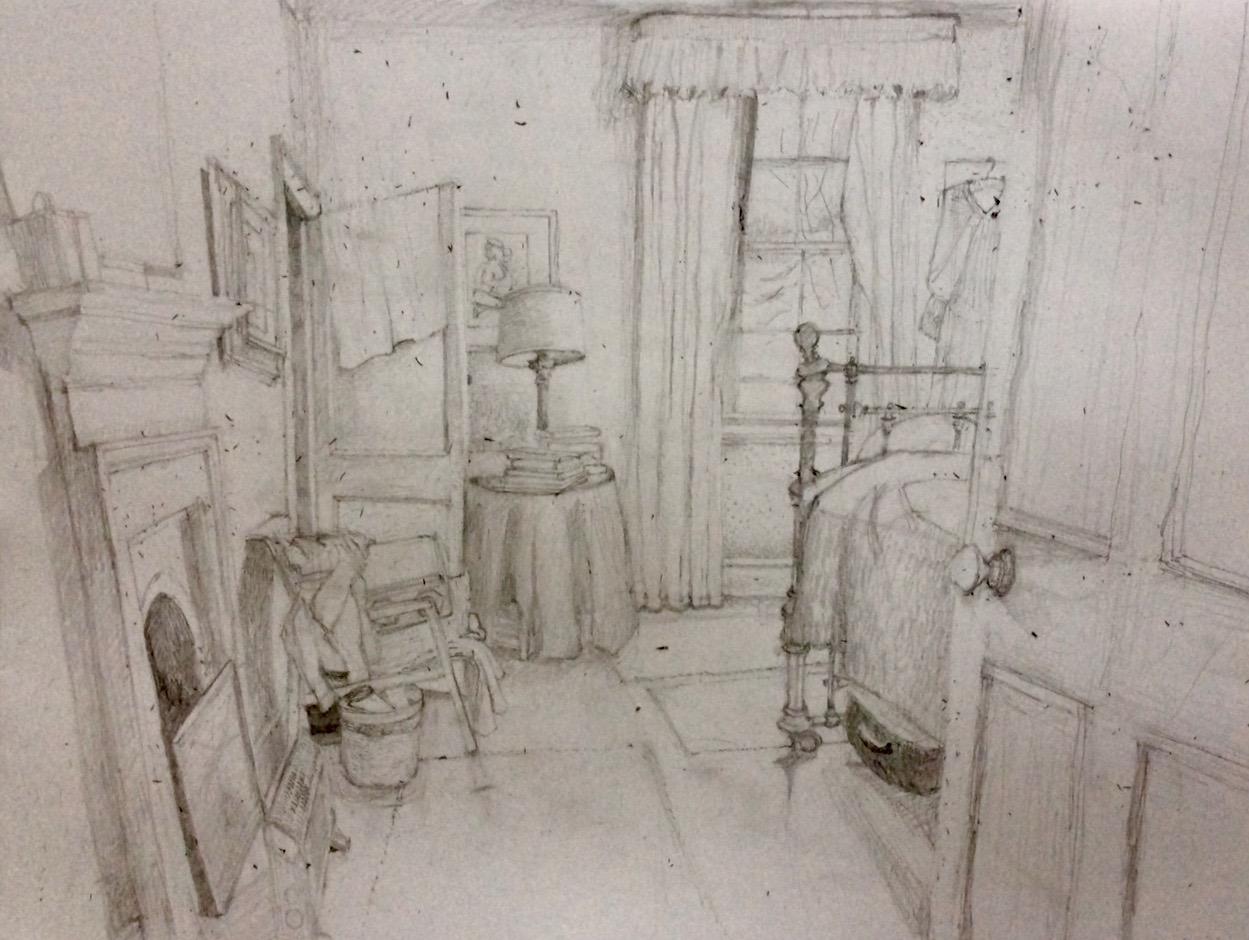 """""""Daisy's Room"""" 2017, drawing"""
