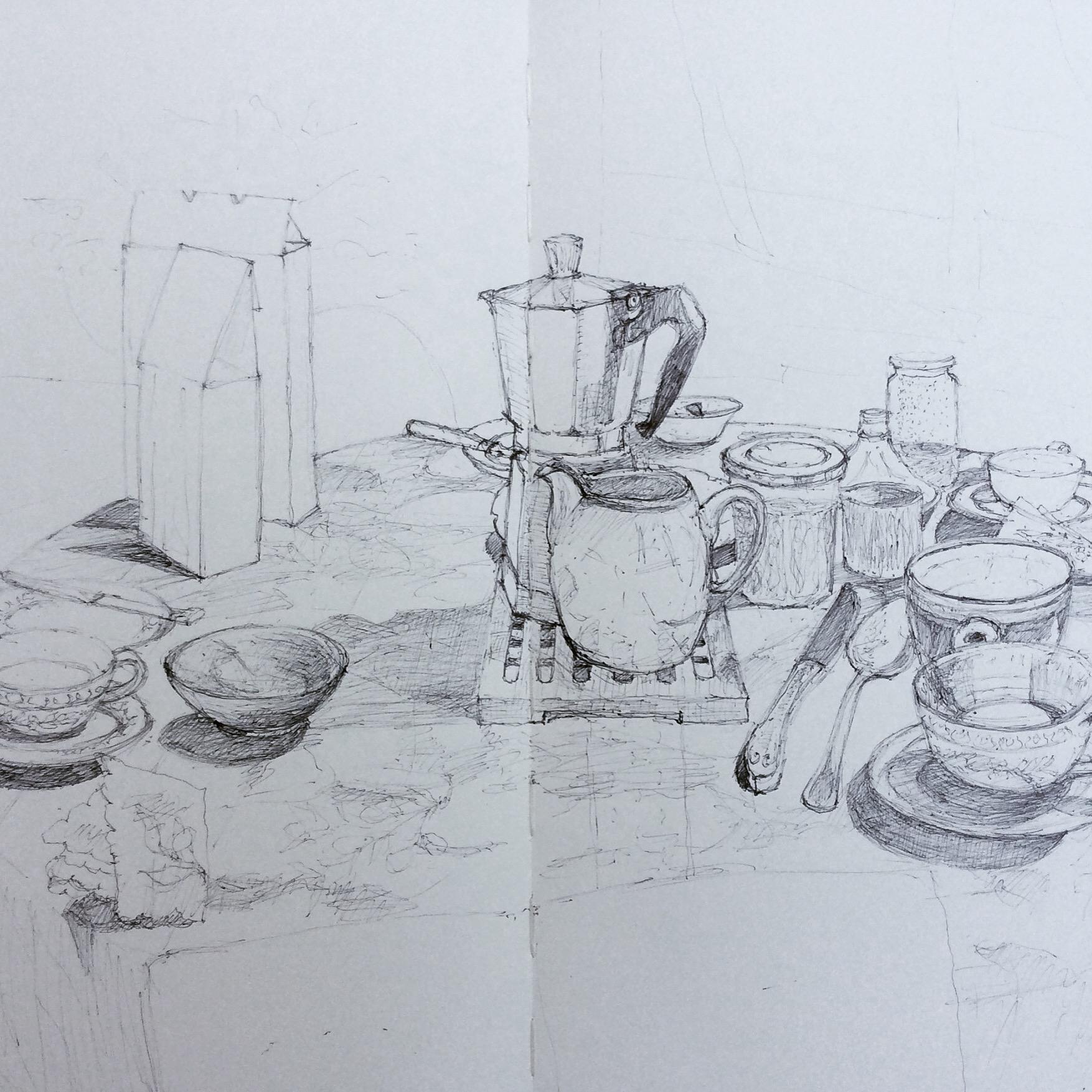 """""""Le Petit Déjeuner, La Negrone"""", 2017, biro drawing"""