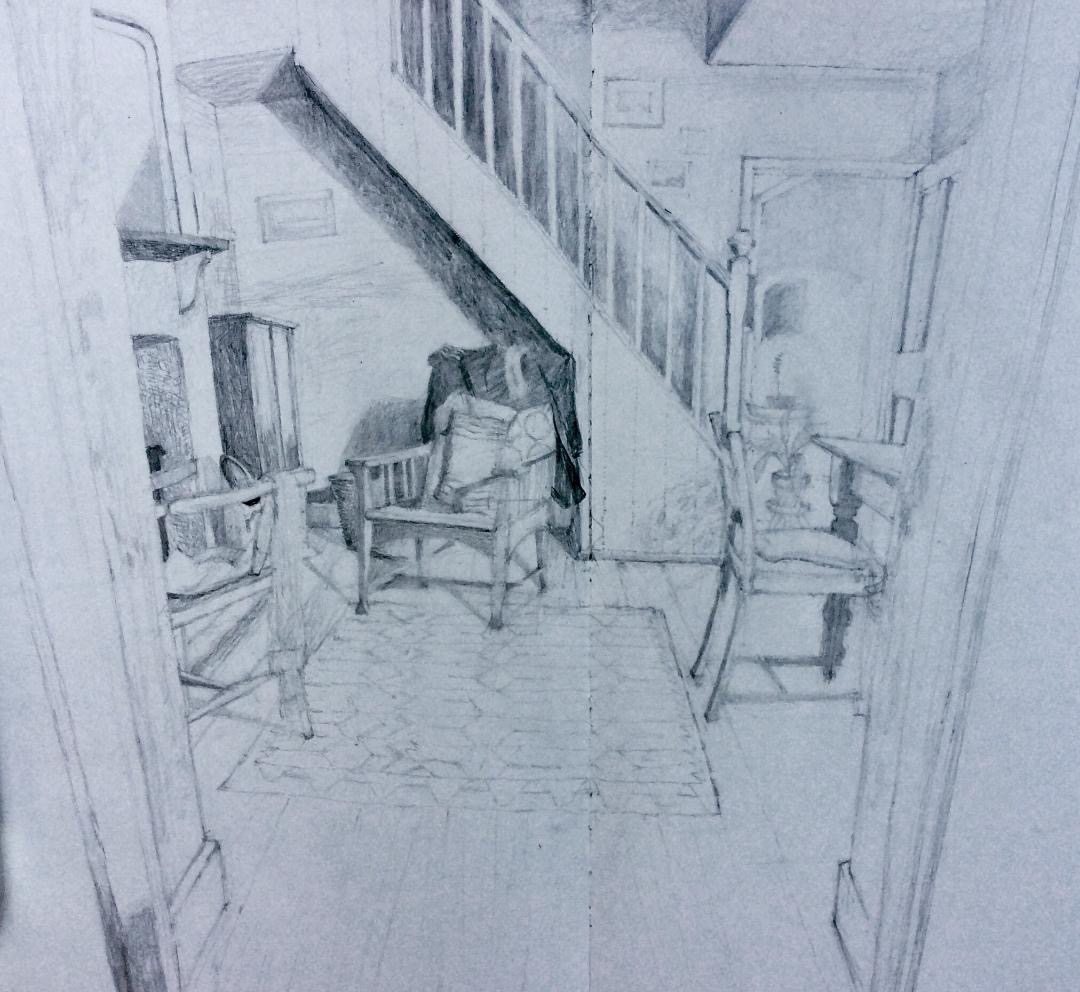 'Dining Room at Toby's' 2017, pencil drawing
