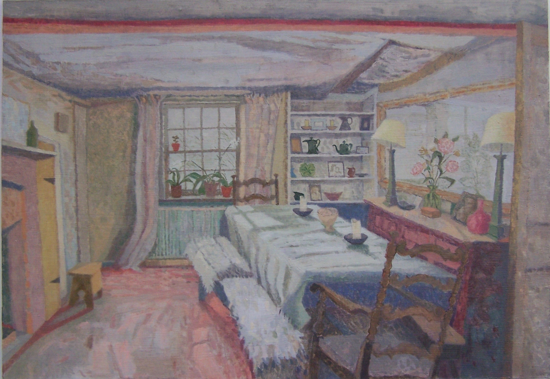 'Dining Room at Victoria's', 2018, oil on gesso panel