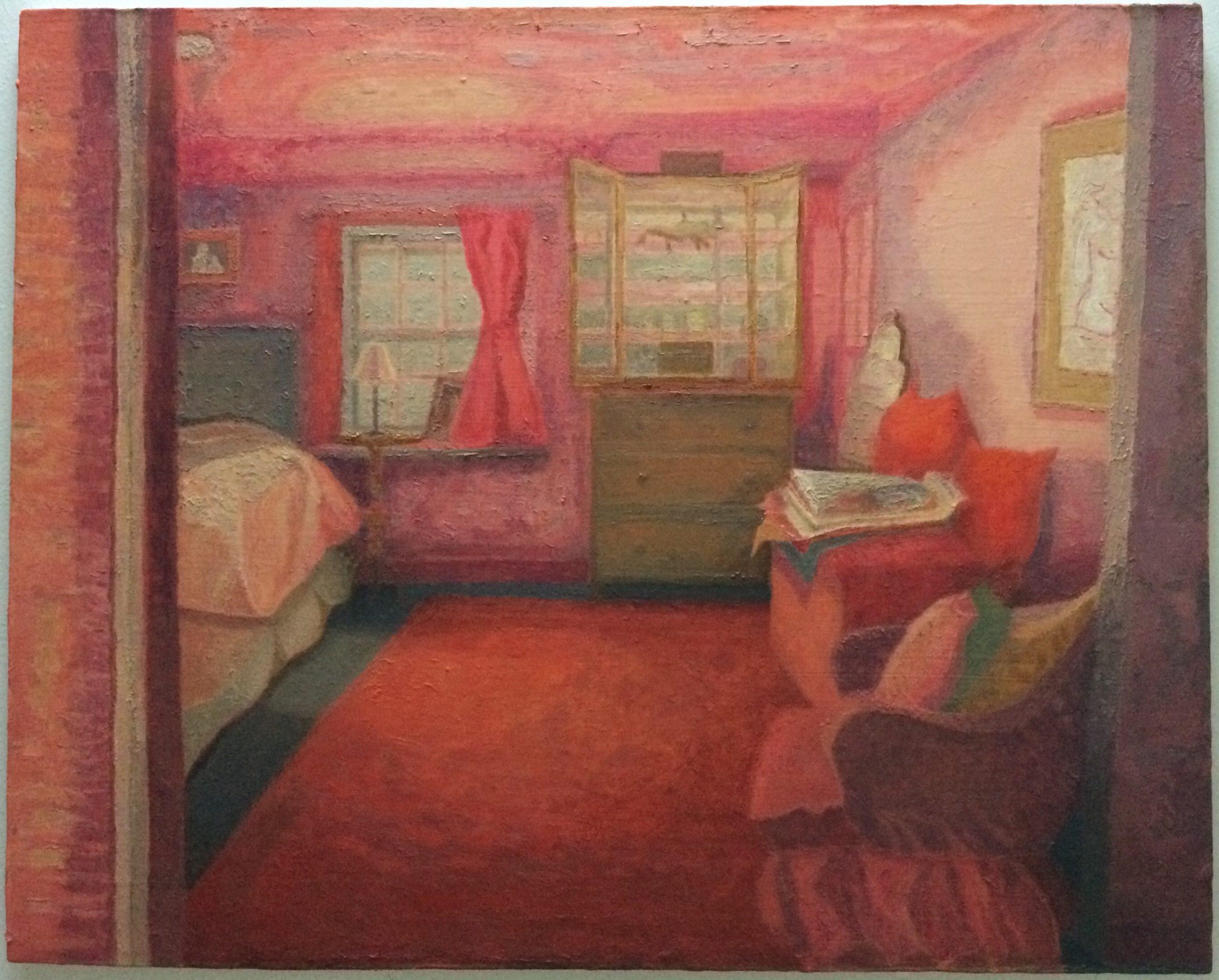 'Bedroom, Grange Cottage' 2019, oil on gesso panel