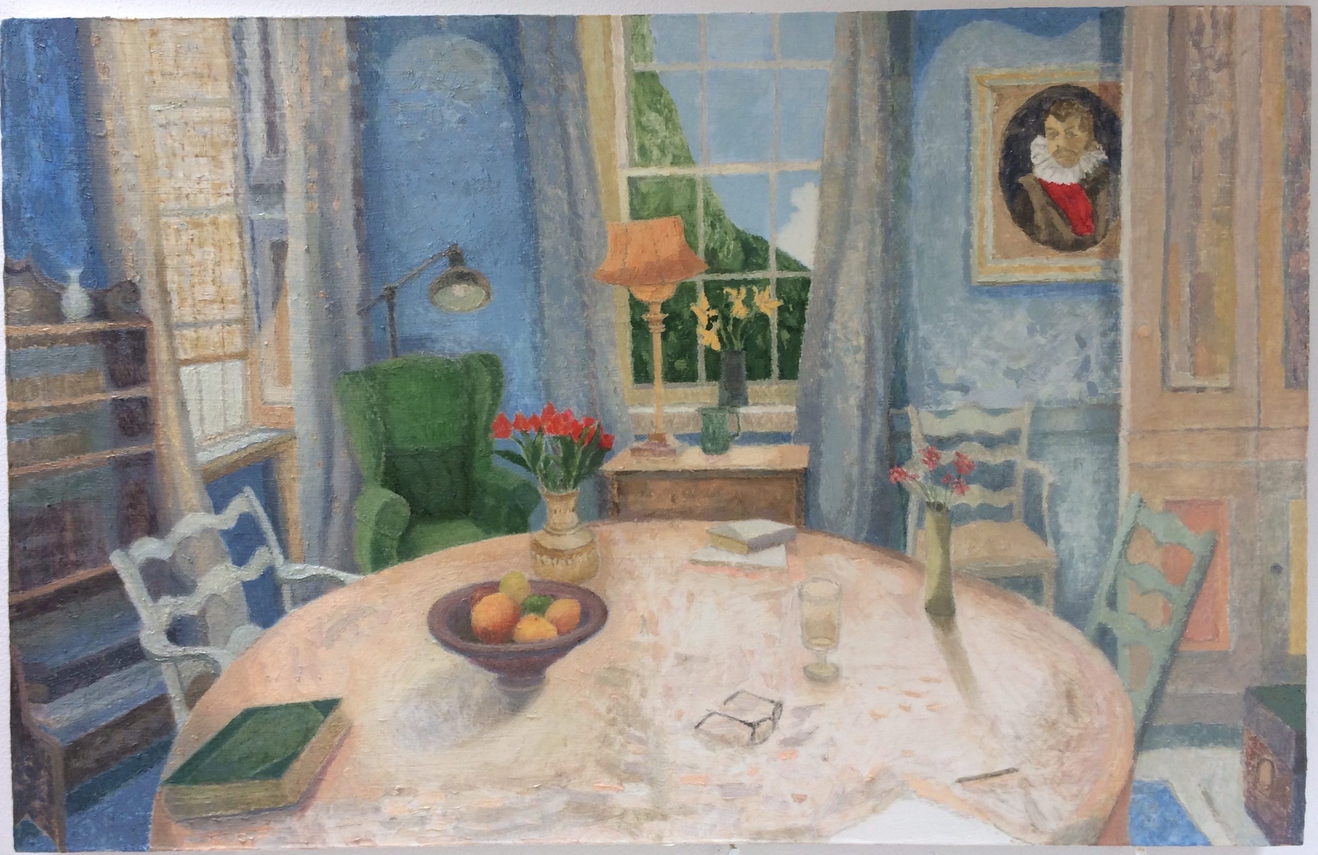 Dining Room, oil on gesso panel, 2019-20